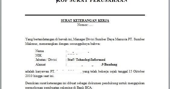 Contoh Surat Lamaran Kerja Untuk Pt - Contoh Tempo