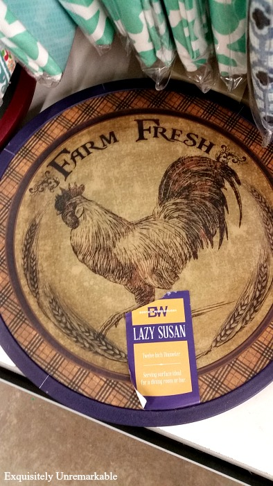 Rustic country rooster lazy susan