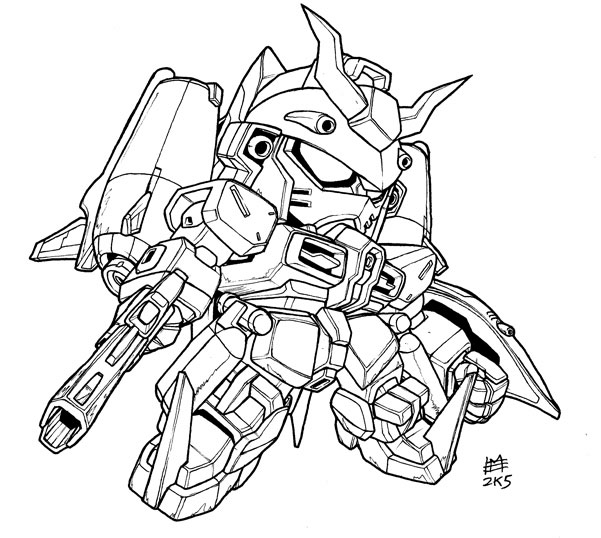Free Gundam Lineart Coloring Pages