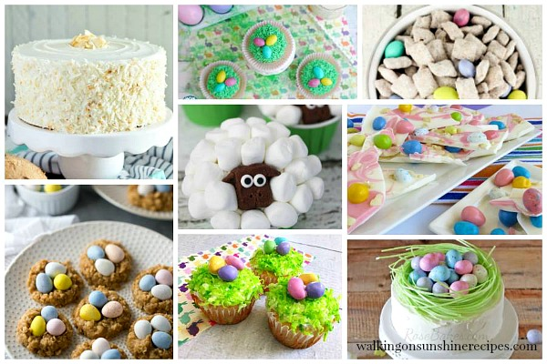 Colorful Delicious Easter Desserts featured on Walking on Sunshine.