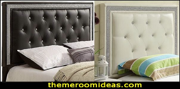 Upholstered Headboardo faux crystals add glamour to the bed