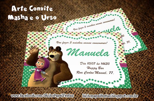 Convite Convite Masha e o Urso