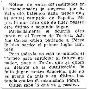 Recorte de Mundo Deportivo sobre el I Torneo Nacional de Ajedrez de Mataró 1948