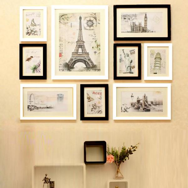 Trang trí mảng tường phòng khách bằng khung ảnh treo tường