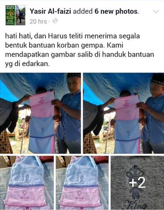 Handuk Bantuan Gempa Aceh Bergambar Simbol Perempuan Dikira Salib Jadi Bahan Tertawaan Netizen