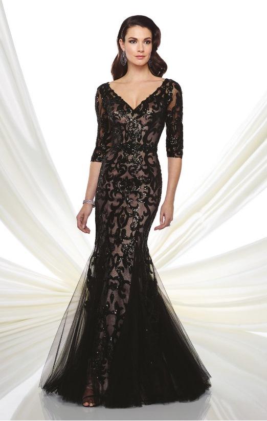 vestido de festa preto longo forro nude