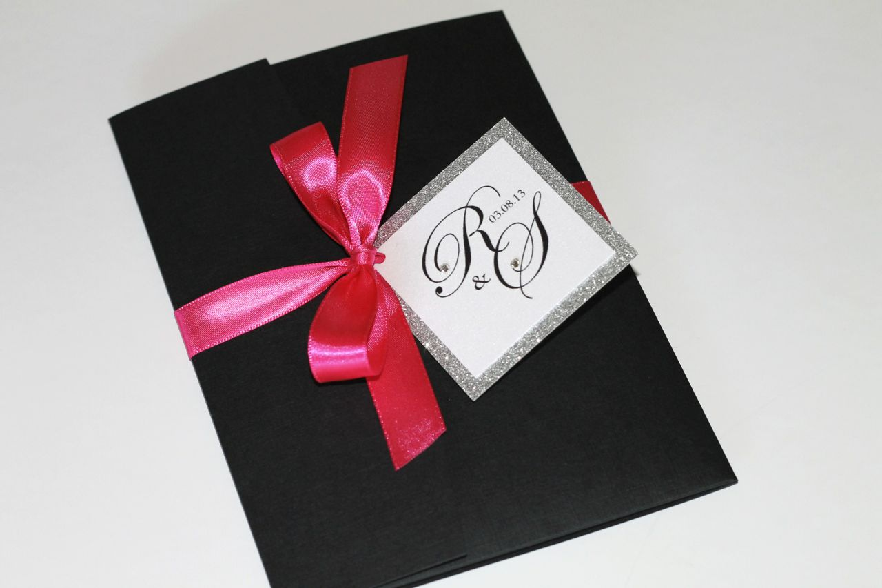 Pink And Black Wedding Invitations: Silver Glitter, Hot Pink And Black Wedding Invitations