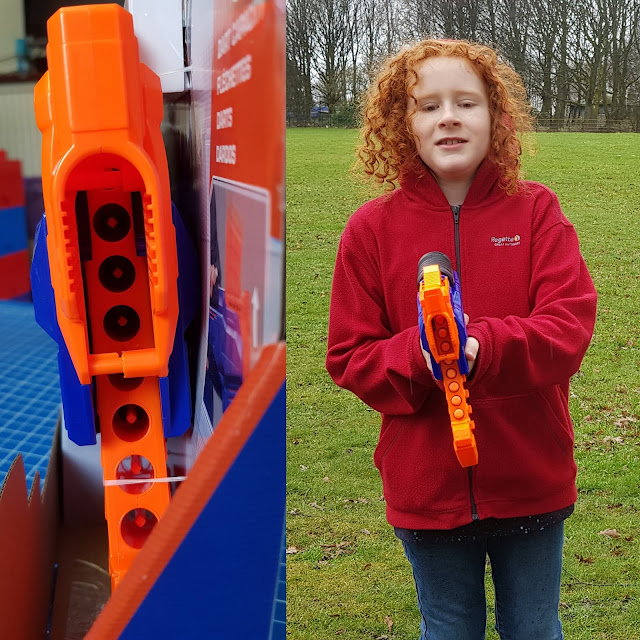 Nerf rukkus blaster showing dart reload cartridge