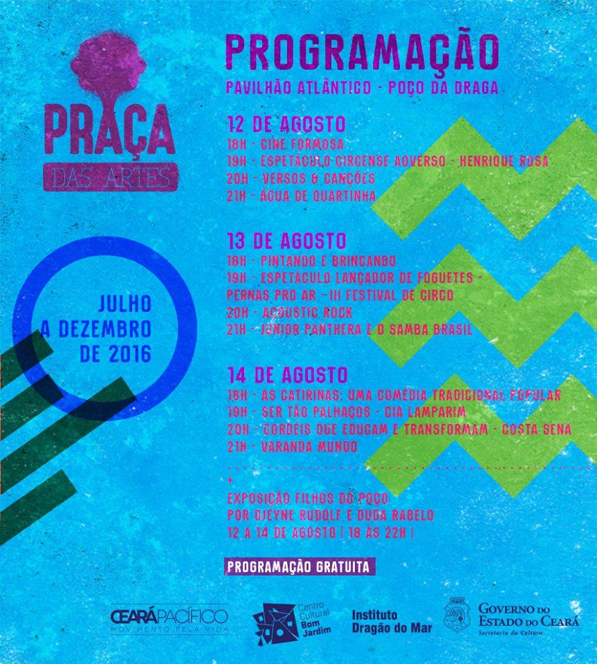 shows de graça em fortaleza praça das artes agosto 2016