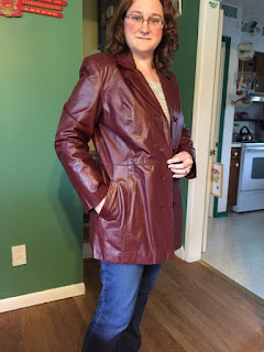 Photo of me in an Etienne Aigner leather jacket
