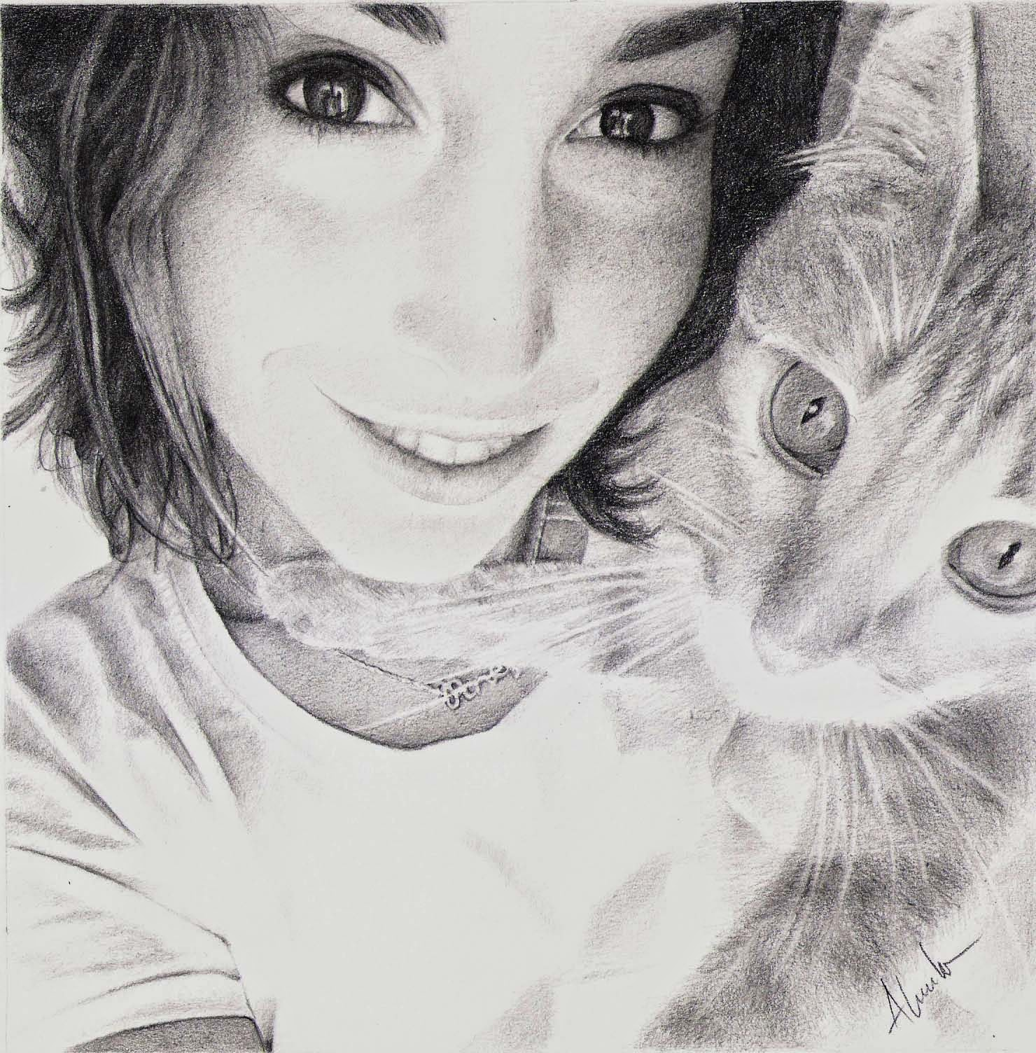 Dibujo a lápiz de Alma Obregón y su gato