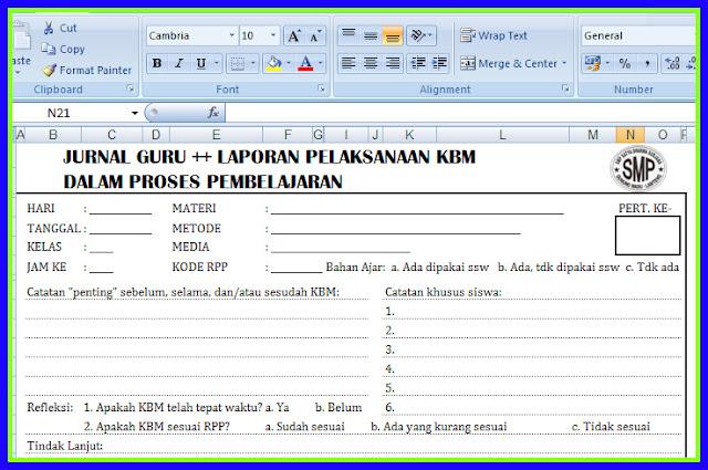 Aplikasi Format Jurnal Harian Kelas Versi Terbaru