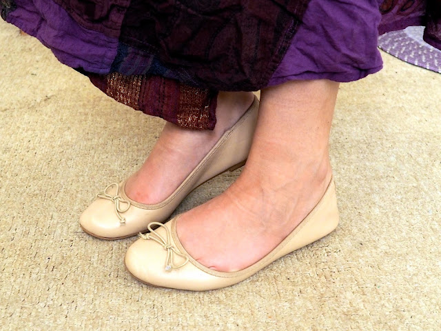 Esmeralda Disneybound outfit shoe details of nude ballet flats