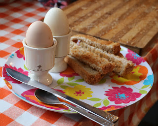 Soft boiled eggs with toast soldiers. Our new egg cups, too