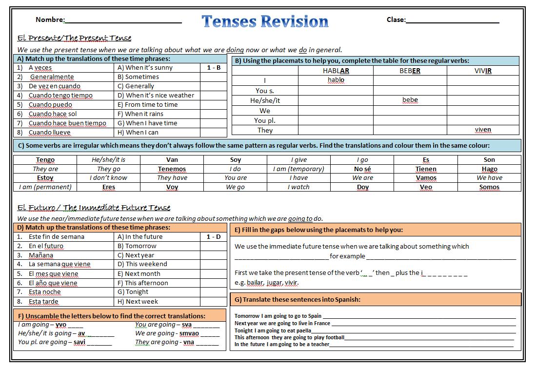 Workbooks spanish future tense practice worksheets : MorganMFL