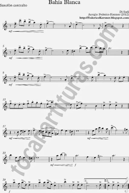 Tango Bahía Blanca Partitura de Saxofón Contralto en 1ª Voz Sheet Music for contralto saxo