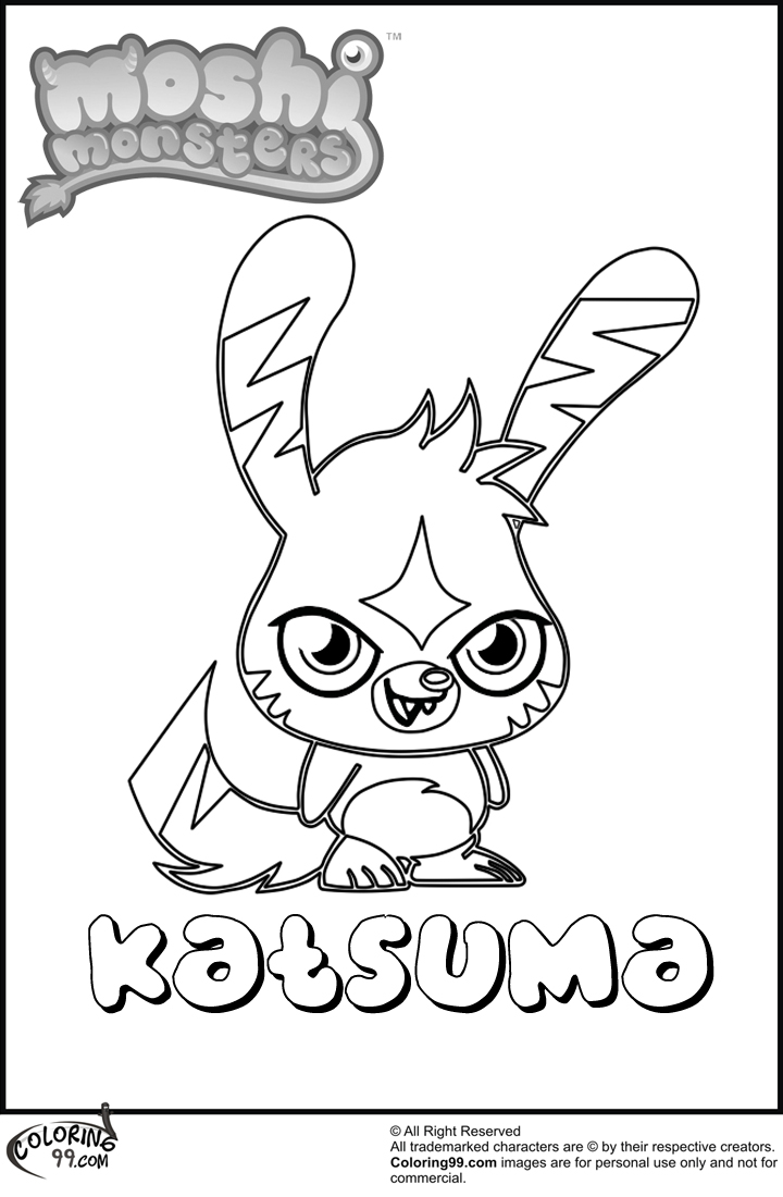 Kitty moshi free colouring pages for Moshi monsters coloring pages