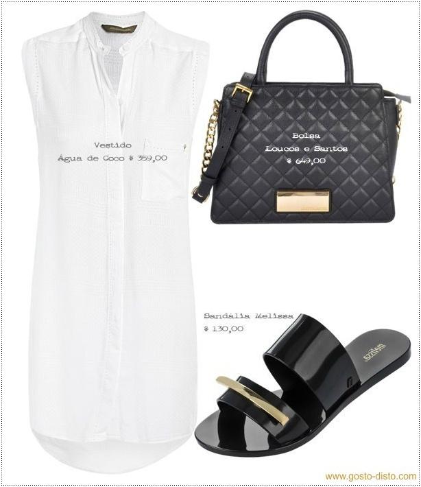 Look branco total com vestido camisa