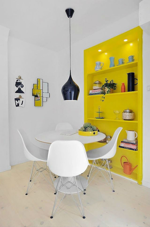Tendencias decoración 2018 pared amarillo minion