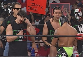 WCW World War 3 1998 - Eddie Guerrero and the LWO confront Rey Mysterio Jr.