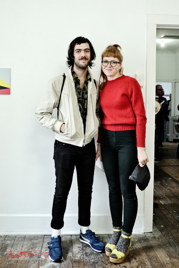 Melbourne Artist Style in Sydney - Black Jeans Red Jumper - Paisley Shirt - Blue Velcro Runners - Cork Wedges with Yellow Straps - Lucina & Evan