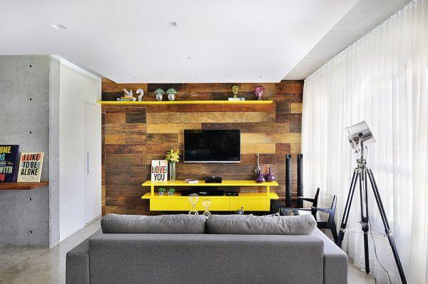 Sala De Tv Com Rack Amarelo ~  de decoração salas pequenas com amarelo do apê da leitora