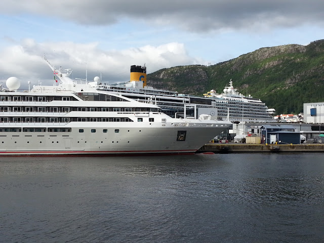 Cruise ship Le Soleal in Bergen, Norway; Fjords cruise