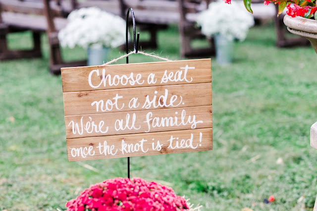 A Cranberry and Blue Autumn Wedding at Worsell Manor in Warwick, MD by Heather Ryan Photography | Choose a seat not a side wedding sign
