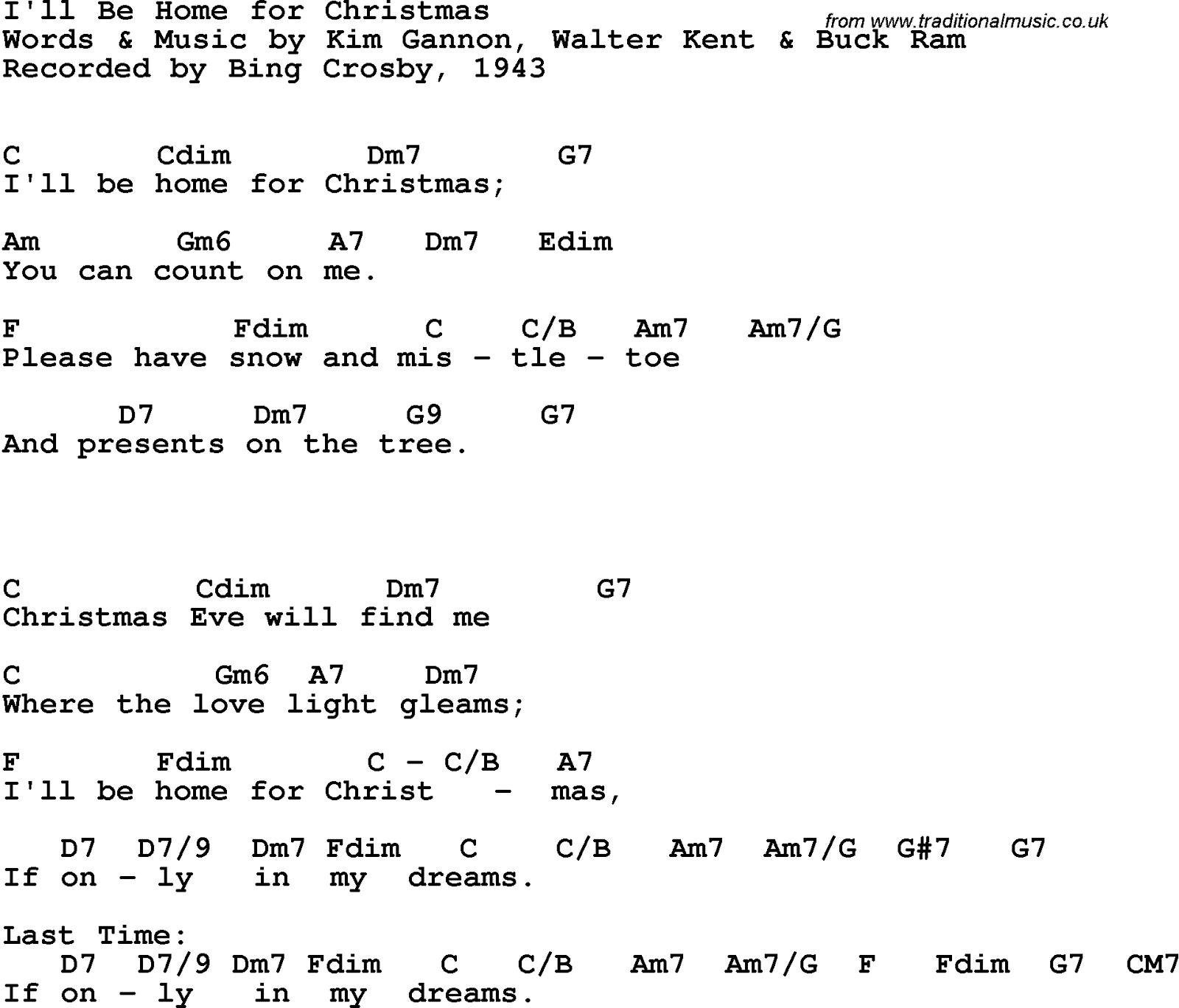 "Bing Crosby ""I Will Be Home For Christmas"" Lyrics"