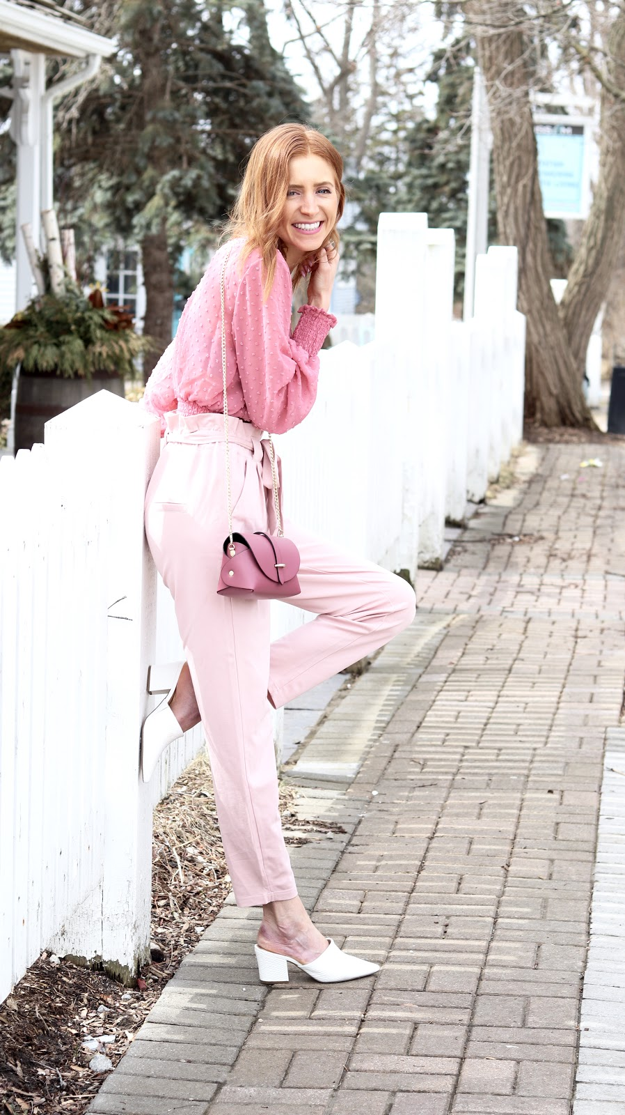 Pastels & Pastries, Pink tie waist pant, pink Dynamite dotted blouse, Blue Lemon Paris bag pink, White leather mule