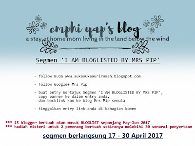 Segmen 'I AM BLOGLISTED BY MRS PIP, Segmen Bloglist,