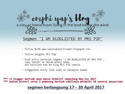 Segmen 'I AM BLOGLISTED BY MRS PIP, Segmen Bloglist,
