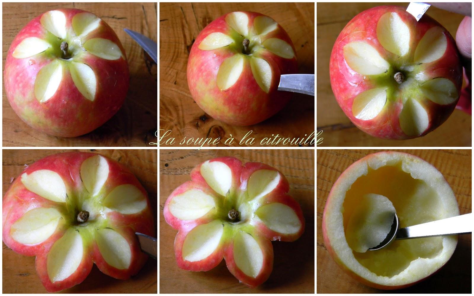 la soupe à la citrouille: les pommes fleurs