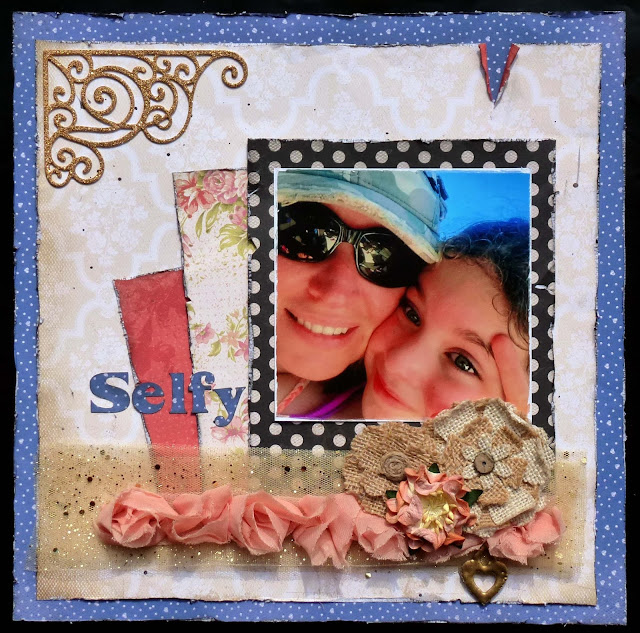 Scrapbooking, burlap flowers, flower lace, Kaisercraft paper, heat embossing, Scan N Cut