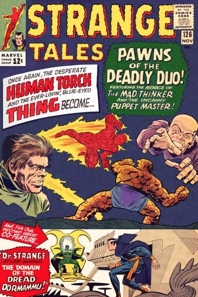 Strange Taled #126, Human Torch, the Thing, Mad Thinker and Puppet Master
