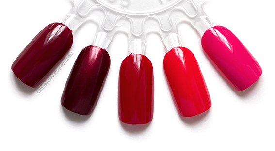 OPI Infinite Shine Iconic Collection Nail Lacquers Swatches Malaga Wine Not Really Waitress Big Apple Red Cajun Shrimp Strawberry Margarita
