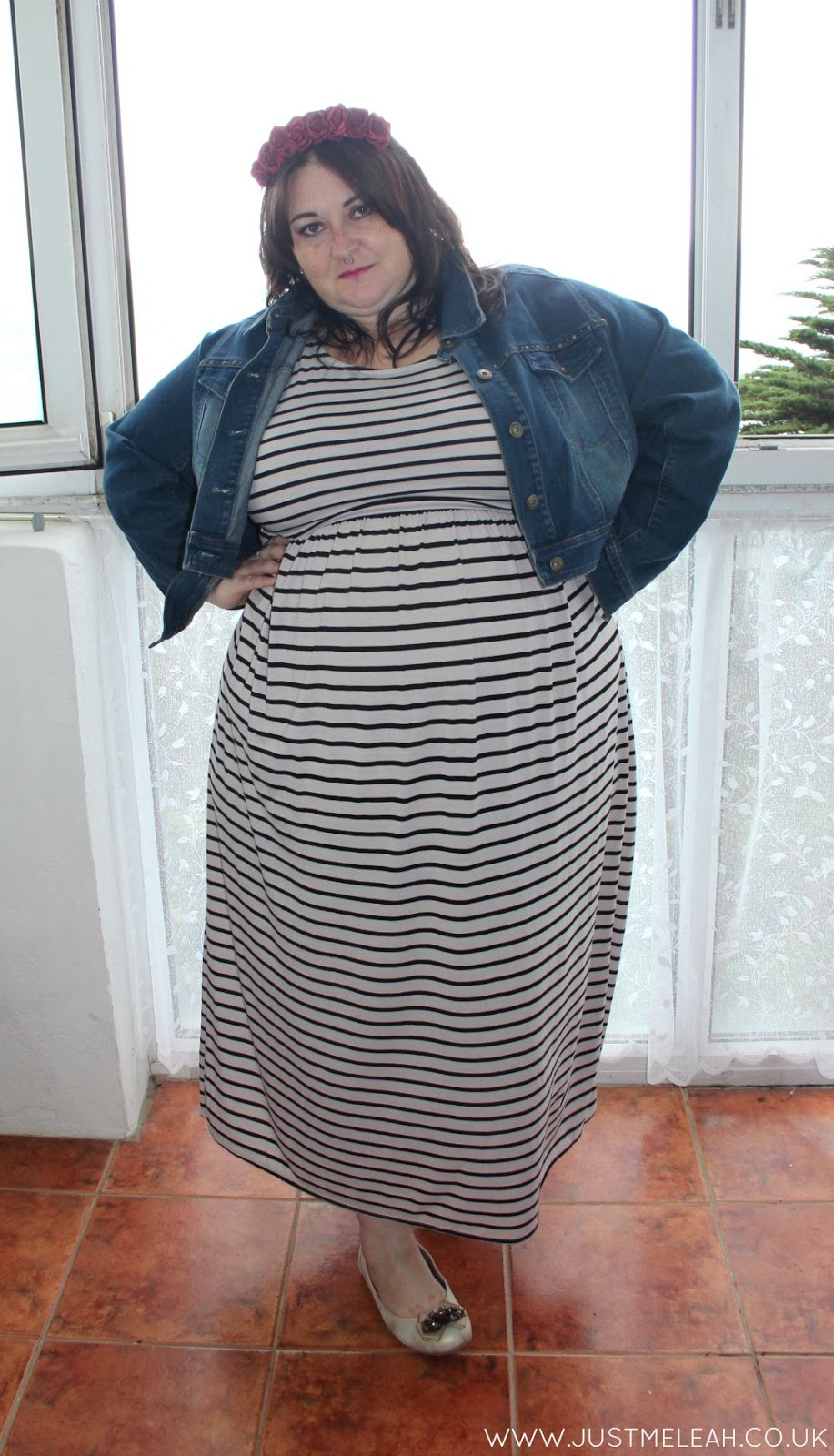 PLUS SIZE STRIPY MAXI DRESS