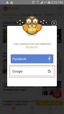 hadiah pengguna baru di Aplikasi Kubik News