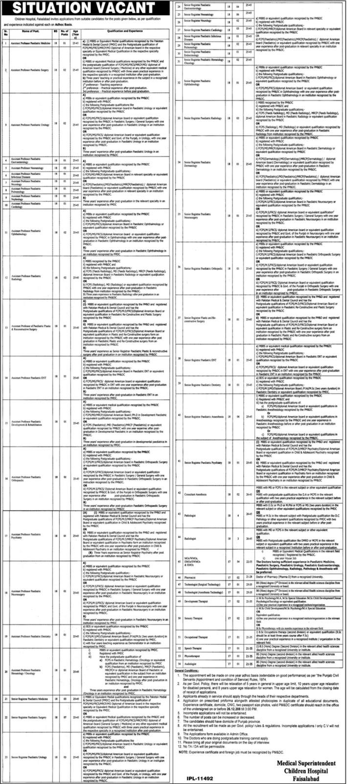 Doctors Jobs in Children Hospital Faisalabad Jobs 2018