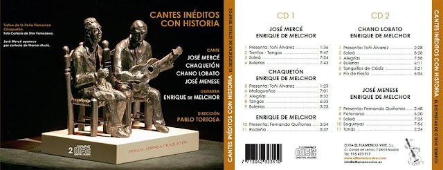 """CHAQUETÓN, ENRIQUE DE MELCHOR """"CANTES INÉDITOS CON HISTORIA"""" EL FLAMENCO VIVE"""