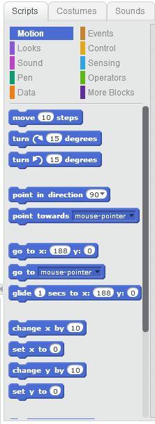 Block tab dan Scripts area - Pengenalan Scratch 3