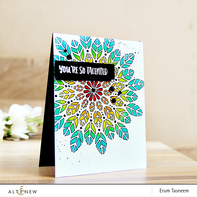 Altenew Leaf Burst Stencil - inked with Altenew Crisp Inks | Erum Tasneem | @pr0digy0