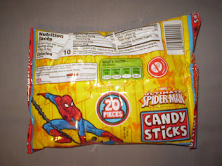 Back of Ultimate Spider-Man Candy Sticks