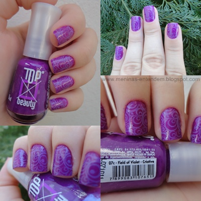 Esmalte Roxo com carimbada violeta