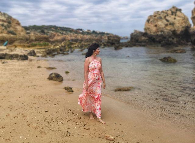 Fashion, Dress, Model, Moda, Portugalia, Sao Rafael Beach, Photoshoot, sesja zdjęciowa na plaży.