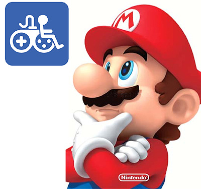 Nintendo's Mario looking pensively at a Game Accessibility symbol.