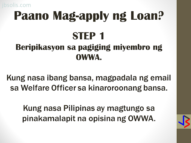 The OFW-EDLP is an enterprise development interventions and loan facility of the Overseas Workers Welfare Administration (OWWA) in partnership with the Land Bank of the Philippines (LBP) and the Development Bank of the Philippines (DBP). It is a two-component package: Enterprise Development Interventions and Loan Facility. The EDT will empower the OFW on how to manage a business. It will also be the best opportunity to ask questions about the business loan. The aim is to help OFWs and their families in the establishment of viable business enterprises that will provide them with steady income as well as create employment opportunities in their community. The loanable amount for qualified individual borrowers is from Php 100,000.00 up to a maximum of P2 million. For group borrowers, they can borrow up to a maximum of P5 million. The loanable amount carries a fixed interest rate of 7.5 percent per annum for the duration of the loan. It can be used either as working capital or for acquisition of fixed assets needed for business operations. The program requires that the proposed project should have a ready market and should generate a monthly income of at least P10,000. Borrowers can choose a short-term loan, which can be paid within a year, or a long-term loan which is payable based on the cash flow but not to exceed seven years, inclusive of the maximum two-year grace period on the capital. Through DTI's assistance, OFWs will have access to training and technical support in starting an enterprise, as well as opportunities to attend special events, such as conferences, exhibitions, symposium, caravans, and other promotional activities initiated by DTI and the private sector. HERE ARE THE DETAILS OF THE LOAN PROGRAM Who are Eligible for a Loan: An OFW who is a certified OWWA Member, active or non-active, and has completed the Enhanced Entrepreneurial Development Training(EEDT). OFWs working abroad may be represented by the following (with Special Power of Attorney, authe