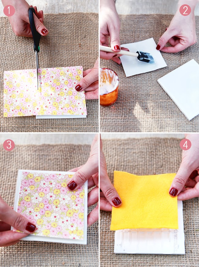 Diy drink coasters from tiles paper for Homemade coaster ideas