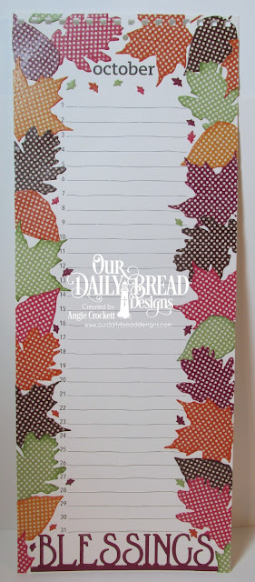 ODBD Custom Stitches Leaves Dies, ODBD Custom Blessings Border Die, ODBD Custom Lovely Leaves Dies, ODBD Fall Favorites Paper Collection, ODBD Christmas Coordinating 2015 Paper Collection, Birthday Calendar Design by Angie Crockett