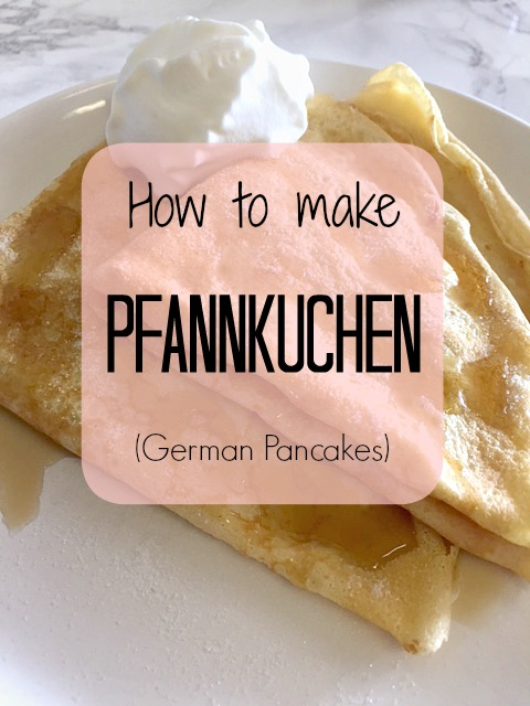 pfannkuchen, german pancakes with cream, sugar and maple syrup